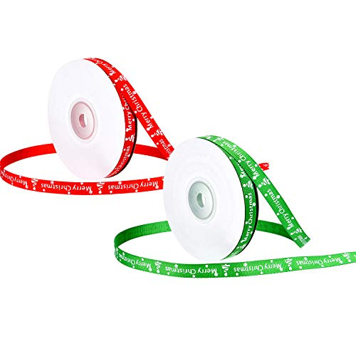 Patelai 2 Rolls 44 Meters Totally Christmas Ribbon Printed Merry Christmas Ribbons Gift Wrap Ribbon for Party Crafts Gifts, 10 mm Wide (Red and Green)