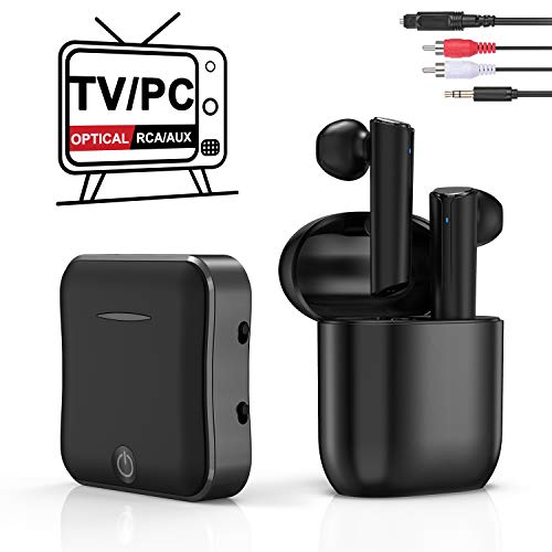 Wireless Headphones for TV Watching, TWS Earbuds Deep Bass Wireless TV Headphone Set with Bluetooth Transmitter for Optical Digital Audio, RCA, 3.5mm Aux Ports TVs, Cellphone, Laptop, PC Plug n Play best to buy