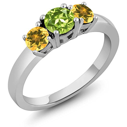 1.12 Ct Round Green Peridot Yellow Citrine 925 Sterling Silver 3-Stone Ring