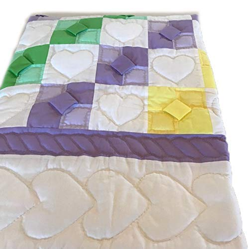 Image of Amish Handmade Baby Girl Quilt Purple Yellow Green Bow Tie Pattern
