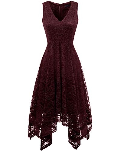 - Bridesmay Women's Elegant V-Neck Sleeveless Asymmetrical Handkerchief Hem Floral Lace Cocktail Party DressBurgundy M