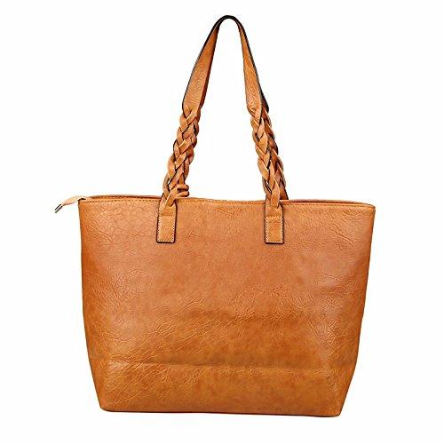 Cuir Tassel Large Sac poignée brown cm Femmes Vintage Khaki Shopping bandoulière 20cmXLongueur main Totes Travail Sac a PU maxX30 rr1SqwFgR