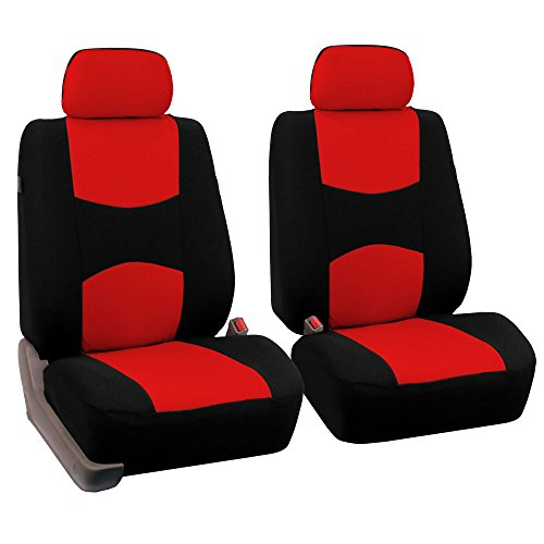 red and black car seat covers - 1