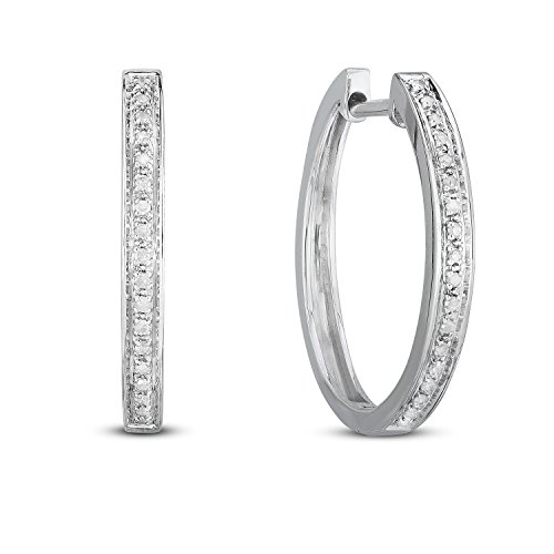 NATALIA DRAKE Holiday Deals- Sterling Silver 1/10ctw Diamond Hoop -Gifts for Women (White)