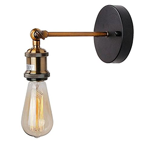 Anmytek Wall Light Fixture, Industrial Retro Rustic Loft Antique Wall Lamp Edison Vintage Pipe and Brass Head Wall Sconce Decorative Fixtures Lighting Luminaire (Bulbs not included) (Simple Copper)