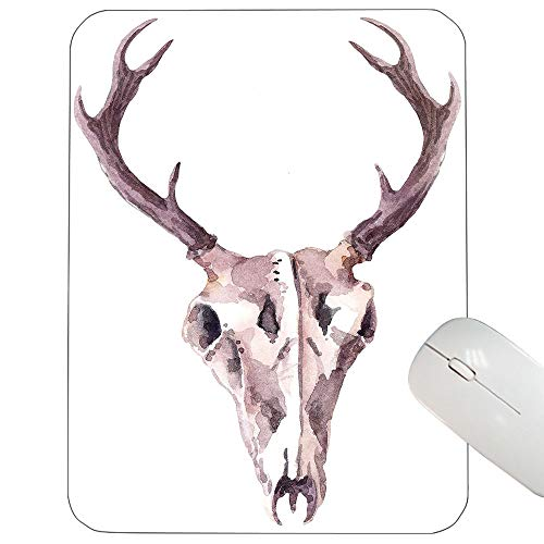 - Antler Support Mouse pad Artistic Abstract Deer Skull Watercolors Bones Skeleton Elk Stag Print Mouse pad Mauve Pale Pink White 12