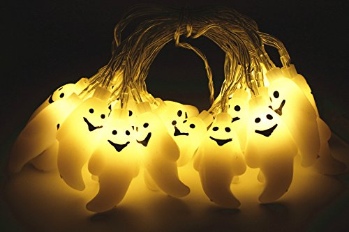 Ghost String Lights 20 LEDs 6.9 Foot Halloween Lights For Halloween Decoration  - Battery Operated - Lighted Ghost