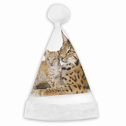 (Animal Lynx Cats Cub Baby Velvet Christmas Hat with Plush Trim ∧ Comfort Liner - Adult and Child)