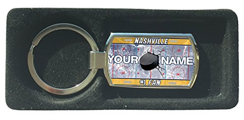 BleuReign(TM) Personalized Custom Name Hockey Team License Plate Nashville Metal Keychain