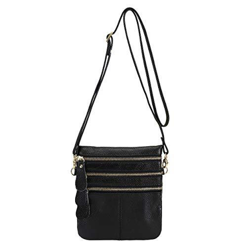 Wetiny Womens Leather Crossbody Multi Pocket Three Zipper Bag Mobile Coin Purse