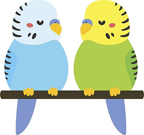 Cute Sweet Parakeet Bird Couple Friends Cartoon Vinyl Decal Sticker (4