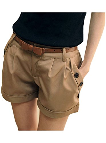 Bluetime Women's Shorts Low Waist Casual Hot Shorts Pants Trousers Fashion (XL, Khaki)
