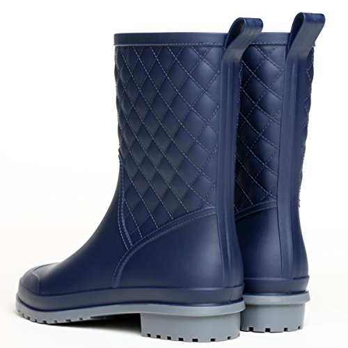 Booties Navy Rain Waterproof Shoes Litfun Work Garden Wide Calf Boots Black Rain Mid Womens Calf Outdoor gvq8OZpw