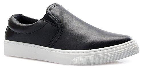 OLIVIA K Womens Round Toe Slip On Platform Loafer Sneaker - Adorable Cushioned Shoe - Easy Everyday Back to School Fashion Black Pu