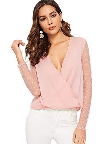Romwe Women's V Neck Sheer Dot Contrast Mesh Long Sleeve Sexy Wrap Blouse Top Pink S