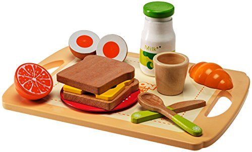 (Dragon Drew Kids Wooden Kitchen Play Set - 13 Piece Breakfast Kit with Bread, Cheese, Fruit, Milk, Tray, Cup, Plate, Spoon and Knife - Nontoxic Paint, Child and Toddler Safe - for Ages 3+)