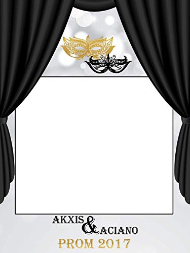 Custom Masquerade PhotoBooth, Masquerade Mask Prom Night, Mask Party, Mardi Gras, Masquerade Party photo booth, Masquerade Ball- Size 36x24, 48x36 Handmade Party Supplies Photo Booth ()