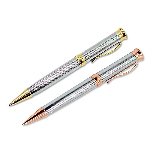 Candumy Luxury Ballpoint pens Sets Two Twist Pens for Women, Silver Pens with Gold/Rose Gold Trim, Retractable Nice Pen with Black Replacement 1mm Ink and Two Gift Box(2 Pen,4 Refills)