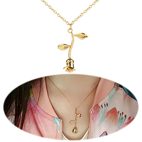 Rose Necklace Flower Leaf Pendants Dangle Simple Minimalist Choker Collarbone Collar Chain Charms Jewelry Golden Plated