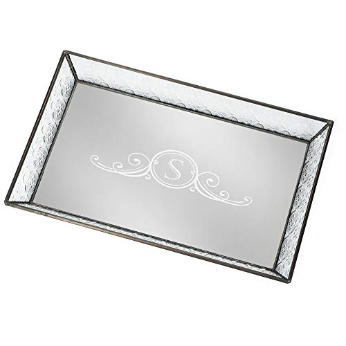 J Devlin Tra 106-1 ET207 Personalized Vintage Glass Jewelry Tray with Mirrored Bottom Monogrammed Decorative Dresser Engraved Vanity - Mirror Personalized Etched Glass