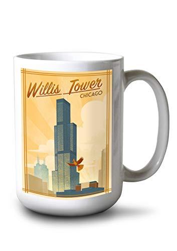 Lantern Press Chicago, Illinois - Willis Tower - Lithograph 95811 (15oz White Ceramic Mug)