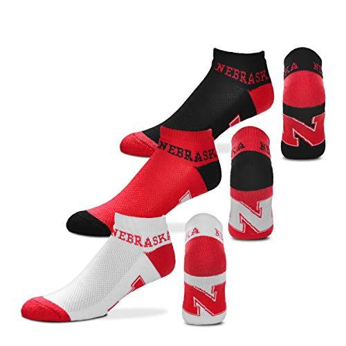 - For Bare Feet NCAA Mens Money Ankle Socks-3 Pack-Nebraska Cornhuskers