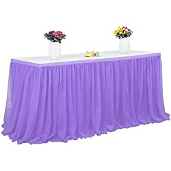 Robolife Tutu Tulle Table Skirt Cloth for Party Wedding Home Decor Purple 72 x 30 inch