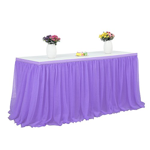 Robolife Tutu Tulle Table Skirt Cloth for Party Wedding Home Decor Purple (72 x 30 inch)