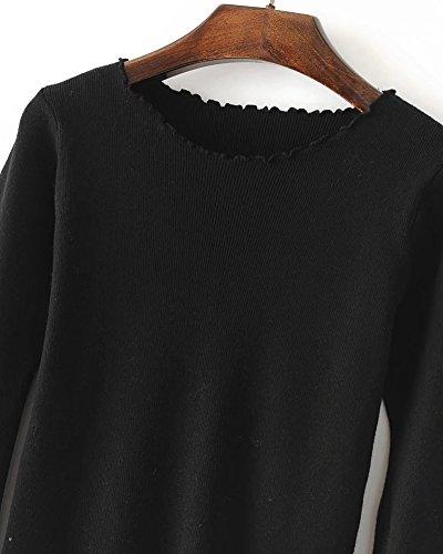 Mujeres Casual Redondo Cuello Pullover Suéter Suelto Manga Larga Jerséy Para Señoras Negro