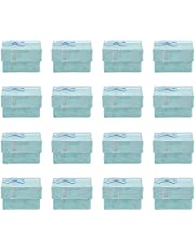 YARNOW Tomma ringlådor, 24 st fyrkantiga smyckeskrin förlovningsring presentaskar små smycken förvaringsfodral för bröllop födelsedagar årsdagar (blå)
