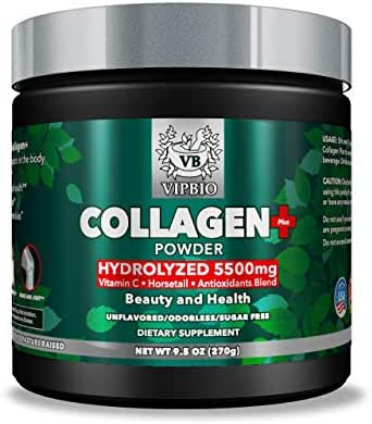 VipBio Natural Hydrolyzed Collagen 5500 milligram Plus Powder Protein with Vitamin C   Grass-Fed, Non-GMO , Gluten-Free and Unflavored 9.5 oz.