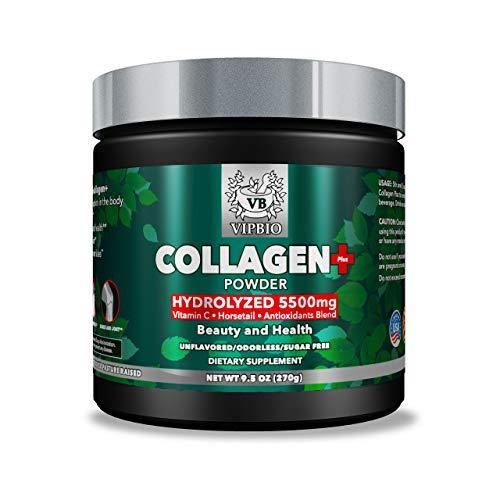 VipBio Collagen Plus Powder 9.5 Oz.| Natural 5500 mg Grass-Fed | Hydrolyzed Bovine Collagen | Vitamin C | Antioxidants Blend | Non-GMO |Gluten Free | Unflavored