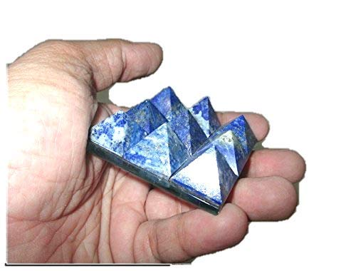 Jet Lovely Lapis Lazuli 9 Pyramid Plate A++ Free Booklet Jet International Crystal Therapy Chakra Power Protection Vastu Healing Feng Shui Energy Gift Success Progress Health Wealth Prosperity Good Luck Divine Vastu Defect Business Gift Christmas Good Friday Birthday Surprise Occasion India Asia Sacred Mantra Prosperity Security (Wealth At The Bottom Of The Pyramid)