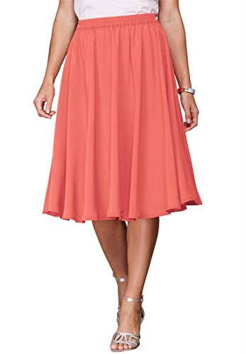 Roamans Women's Plus Size Sweeping Skirt (Dusty Coral,20 W)