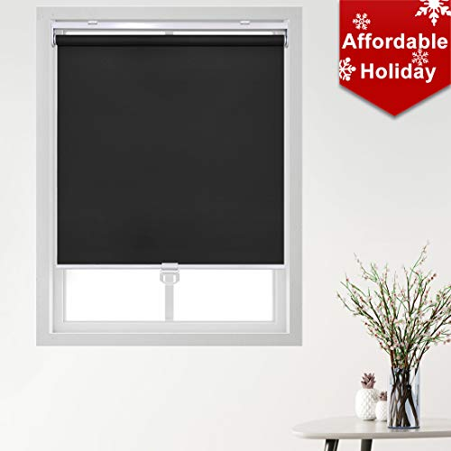Keego Cordless Roller Blinds and Shades for Windows – Blackout Spring Roller Shades – Cordless Privacy Room Darkening Window Cover for Home & Office [Black 100% Blackout,34″ W x 72″ H(Inch)]