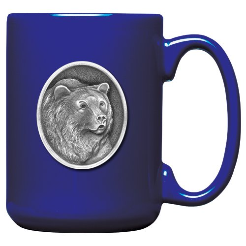1pc, Pewter Grizzly Bear Coffee Mug, Cobalt
