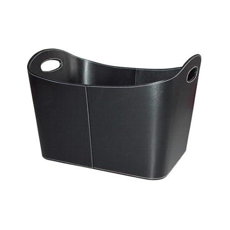 Benta 99168 - Cesto per legna con rivestimento in ecopelle, 53,5 x 43 x 34 cm, colore nero EiFi