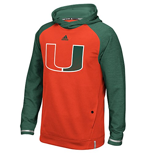 adidas NCAA Miami Hurricanes Men's Sideline Climalite Player Hoodie, Medium, Orange (Miami Player Hurricanes Ncaa)