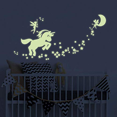 Benbo Unicorn Wall Decals Glow in The Dark Unicorn Stars Fairytale Fairy Wall Stickers DIY Kids Girls Bedroom Home Nursery Room Wall Mural Decor (Unicorn 1) Ceiling Wall Baby Nursery Room
