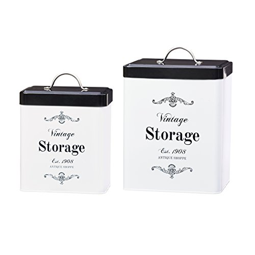 Amici Home, A7CDI022AS2R, Antique Shoppe Vintage Storage Metal Canisters, Food Safe, Push Top Lid, Assorted Set of 2 (Large, 208 Ounces; Small, 96 Ounces) (Vintage Dog Food Container)