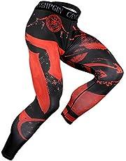 WanYang Andningsbar stretch snabbtorkande leggings, sport gym byxor, herr kompression leggings torra sportbyxor, löpning gym tights, mäns täta fitness kompressionsbyxor