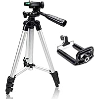 Coolmobiz Tripod 3110 Portable Adjustable Aluminium Lightweight Camera Stand with 3-Dimensional Head and Quick Release Plate for Video Cameras and Mobile Tripod Tripod (Black, Silver)