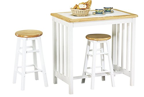 Major-Q 3Pc Pack Farmhouse Style Wood Frame Space Saving Design Natural Finish Counter Height Dining Set with 1 White Terracotta Tile Top Table and 2 Bar Stools Included, 9002140nw ()
