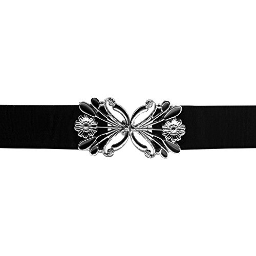 Butterfly Elastic Belt (Black Butterfly 1 Inch Dandelion Flower Buckle Belt (Black, US 10 -)