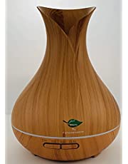 Essential Oil Diffuser, 500ML, Natural Home Fragrance Diffuser with 7 LED Color Changing Light and Easy to Clean - Light Brown Wood Grain