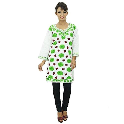 Diseñador indio de Bollywood mujeres del desgaste étnico Kurti algodón Toptunic Blanco y verde