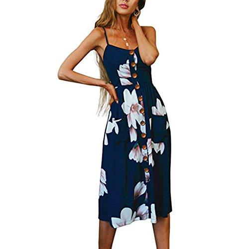 Vacaciones Vestido Mediodía Providethebest XL Botón Longitudazul poliéster Mujeres Marino de Las Florales Becerro Flor Vestido de Impresa RqEqwAB