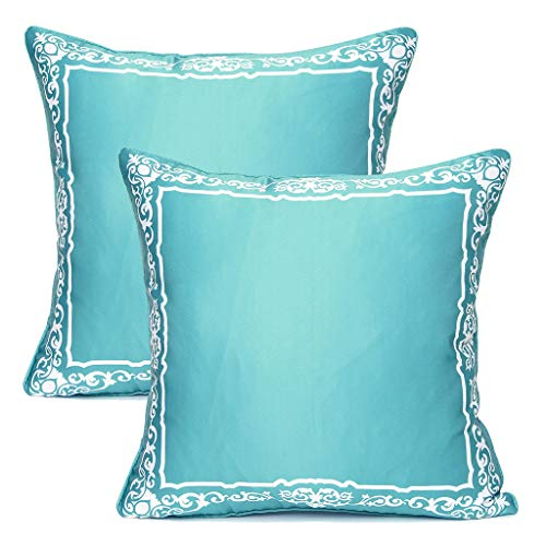 Yinnazi Square Geometric Printing Throw Pillow Cover Decorative Faux Silk Cushion Cover for Couch Set of 2 18 x 18 inch Teal Green