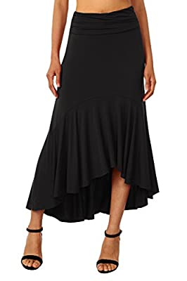 DJT Women's Asymmetrical High Low Ruffle Hem Long Skirt