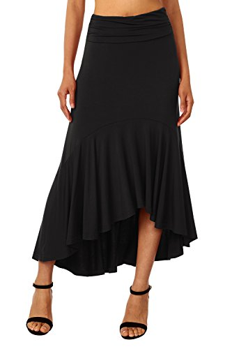 DJT Femme Skirt Midi Uni Asymetrique Mi Longue lgant Jupes Plisse Longue Jupe Noir